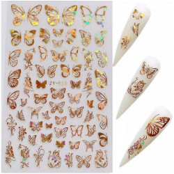 Stickers Papillons 36 Or