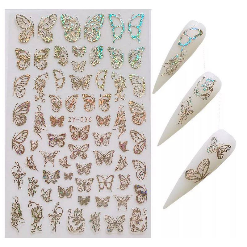 Stickers Papillons 36 Argent